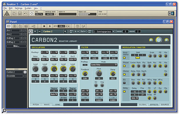 Reaktor 5 features slick new toolbars, the new Panel Sets window shown down the left-hand side, and graphical features like the tabbed panels across the bottom of this Carbon 2 synth, courtesy of the new Stacked Macros module.