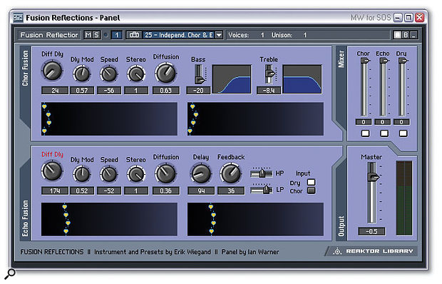 Reaktor v4 offers far more flexible incorporation of bitmap graphics into its front panels (notice the bas-relief panel edges and tabbed logos in this design), as well as radical new modules like Multi Picture, which is here being used to provide an animated display of multiple modulated delay times.