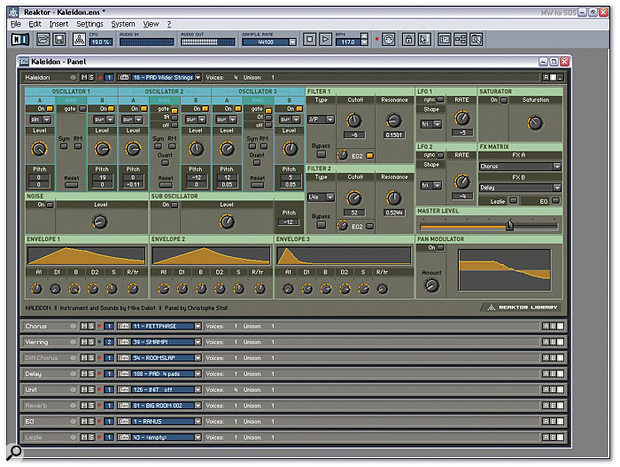 'Kaleidon' is the biggest synth in the new library, with six oscillators plus noise and sub-oscillator, sync, FM, and ring modulation, two multi-mode filters, three envelopes, three LFOs, and a rack full of effects that are here minimised to 'header bars', making it easier to move from one to another without swamping your monitor screen. However, this is only the simpler view 'B' — by clicking on the 'A' button (top right) you switch to a far more comprehensive display that requires a 1280 x 1024 resolution.