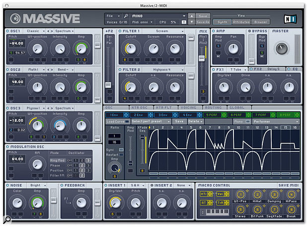 A 16-step Performer module, with two crossfading modulation sequences.