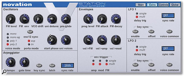 Less-frequently used controls are found under the 'Extra' tab at the top right of the plug-in window, such as the arpeggiator controls, those relating to FM and the LFOs, and VCO drift amount.
