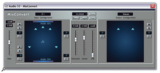 Nuendo 3 includes a new plug-in called Mix Convert to make it easy to downmix files, as shown here, to create a stereo mix from a 5.1 source.