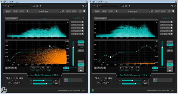Both the amplitude (left) and decay (right) can be adjusted differently at different frequencies.