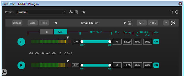 The IO window usefully offers the ability to specify crosstalk between channels.