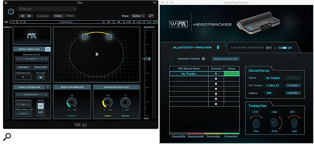 The Nx Virtual Mix Room plug-in (left) is paired with a stand-alone program that sets up the head-tracking aspect of the product (right).
