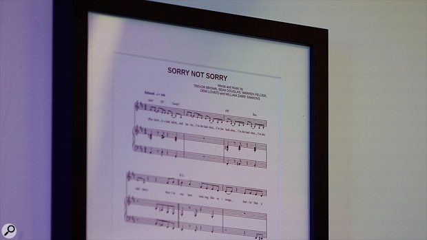 Pride of place in Oak Felder's studio, this printed score for Demi Lovato's mega-hit 'Sorry Not Sorry'.