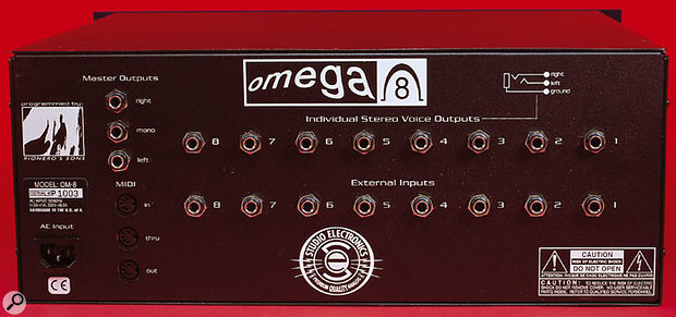 The Omega 8 offers full interfacing with each of its eight voices, providing inputs to and outputs from each of the voice boards, as well as the master stereo outputs. There's even a dedicted mono output.
