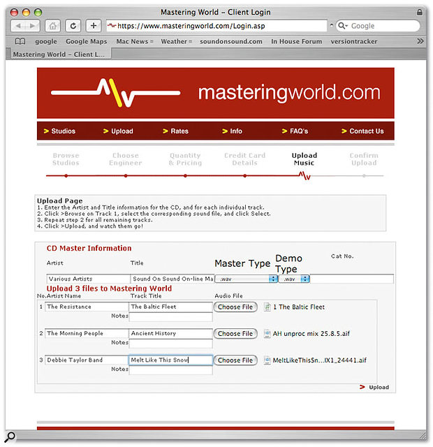 Preparing to upload tracks to the Mastering World server.