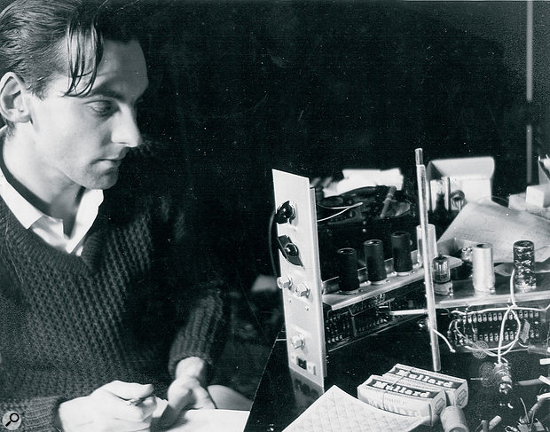 A young Graham Wrench at work on the Oramics synthesizer.