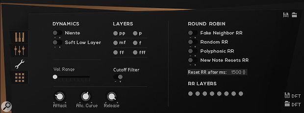 MA1's Settings View window allows you to turn selected dynamic layers and round robins on and off.