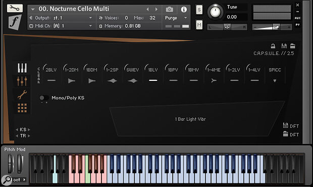 The Nocturne Cello and Violin instruments feature customisable multi-patches which allow you to switch between 12 playing styles in real time.