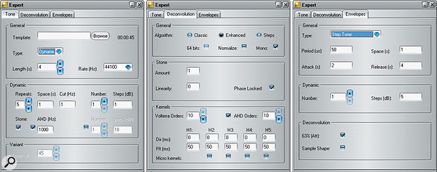 The three tabs of the Expert window, where you make most of the tweaks that will perfect your Nebula Library: the Tone tab is where you define the dynamic range that will be captured, and the space between each sample; the Deconvolution tab includes controls for determining how many harmonics will be captured, and therefore both how realistic and how resource-hungry your Library will be; but you can ignore the right-most one (Envelopes) for now, as this is only required when sampling compressors.