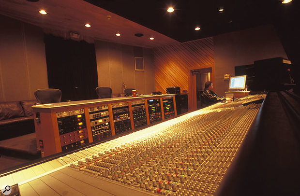 The control room at Stankonia, showing the studio's SSL G-series mixing desk.