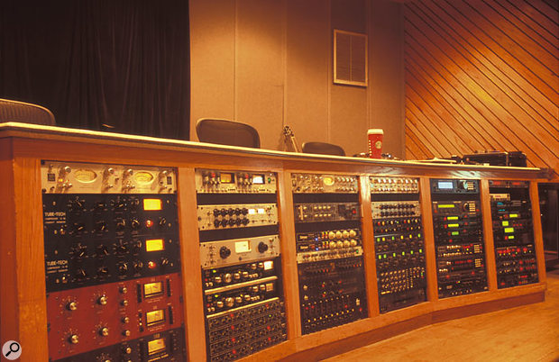 The main equipment rack at Stankonia, including (top left) the Avalon AD2044 compressor used for a lot of the vocals on Speakerboxx/The Love Below.