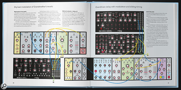 Patch & Tweak With Moog book review showing example page-spread layout.