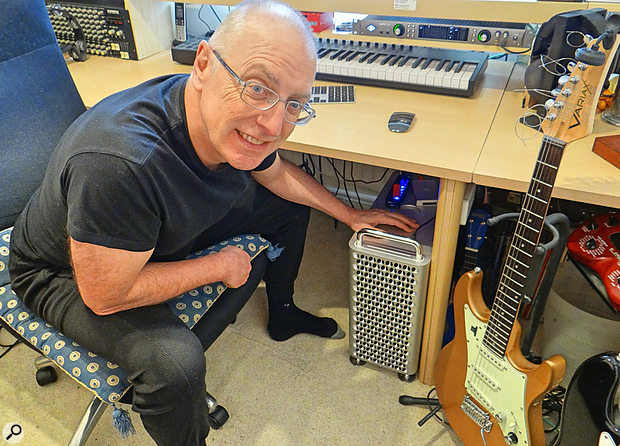 The article author Paul Baggott with Mac Pro below his studio desk