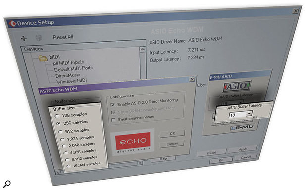Choosing ASIO drivers, where possible, should help you achieve the lowest latency, using the Control Panel window provided by your particular audio interface. Here you can see the Control Panels for the Echo (left) and Emu (right) ranges, as launched from the Cubase SX Device Setup window.