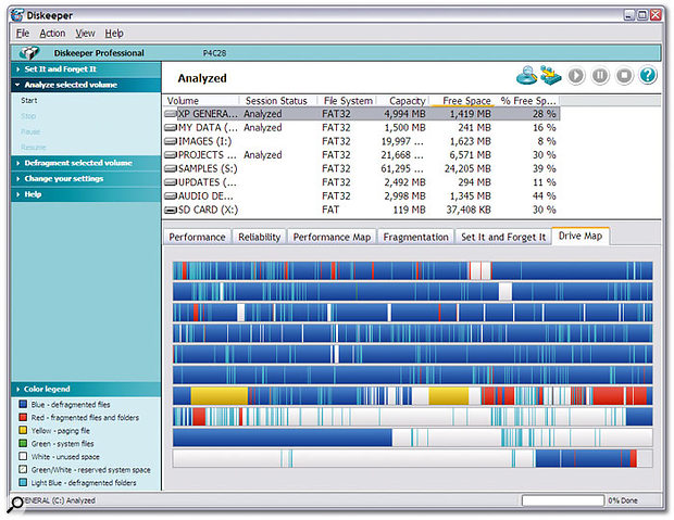 Executive Software's Diskeeper 9 Pro is the 'full' version of the defragger bundled with Windows, and offers far quicker and more thorough performance, but consolidates free space as a separate process.