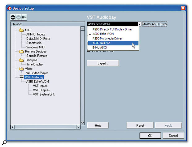 Cubase SX3, an ASIO-compatible host application, allows only one driver at a time to be selected in its Device Setup window, although it may be possible (using special drivers like ASIO4ALL, highlighted here) to persuade several interfaces to run with one driver.