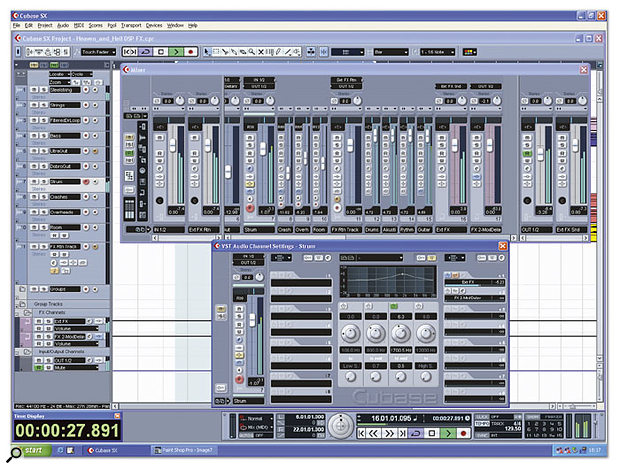 As described in the main text, this is how you can set up routing for external effects in an audio sequencer such as Cubase SX 2.0. Notice on the mixer the extra input channels set up as 'Ext FX Rtn', the extra pair of output channels set up as 'Ext FX Snd', in the Channel Settings window  the send effect routed to 'Ext FX', which (as you can see in the main mixer) has its output routed to 'Ext FX Snd'. It may be initially confusing to set up, but once everything is in place you can use your external effects almost as easily as internal ones.