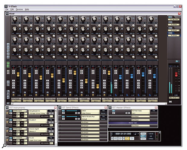 Steinberg's V-Stack is another simple host application, with the advantage that it can be linked to Cubase or Nuendo running on another computer, via a simple digital audio cable, for sample-accurate synchronisation.