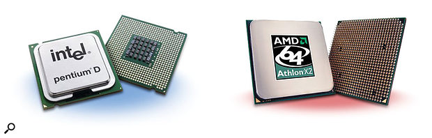 In the blue corner is Intel's Pentium D range, offering good performance, PCI Express and good compatibility with existing PCI cards... and in the red corner is AMD's Athlon X2, with a few compatibility problems, but easier to cool and offering better performance.