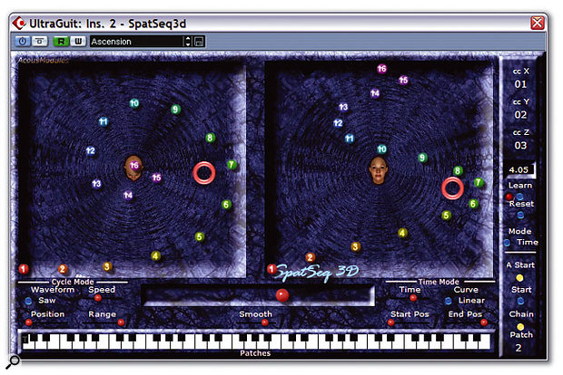 If you like experimenting with surround, you'll love these freeware offerings from Acousmodules, which offer sophisticated control over the movements of multiple samples in a 3D world. They also allow you to generate three sets of MIDI controller information, based on user-created paths, for controlling further spatialisation plug-ins.