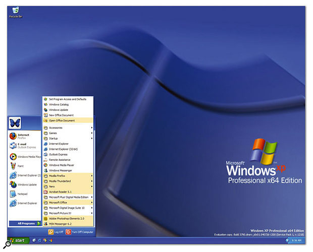 Apart from a new design of wallpaper, there's little on the surface to distinguish the new Windows XP Professional x64 Edition from the 32-bit XP versions, although the underlying code is completely different.