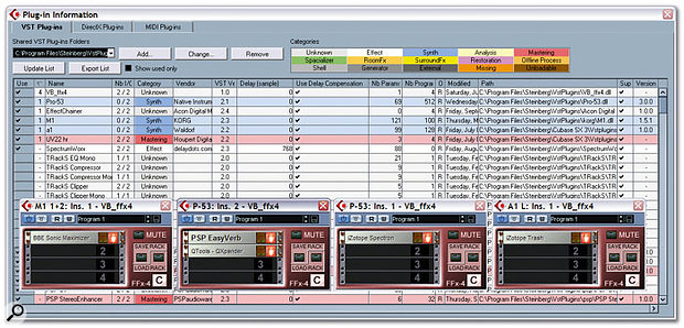 Although Cubase 4 no longer supports Direct X plug-ins, if you have Cubase SE, SL or SX songs that use them, place those DX plug-ins inside a DX-to-VST wrapper such as Vincent Burel's FFX4, shown here, and then you can load them into Cubase 4 perfectly.