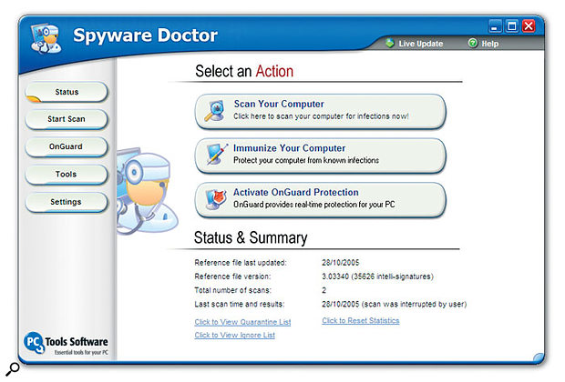 If your PC is connected to the Internet, Spyware Doctor is currently the most thorough way to keep it free from a wide variety of on-line threats.