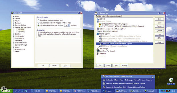 You can decide when taskbar buttons will be Grouped with TweakUI, and re-order them with Task Arrange.