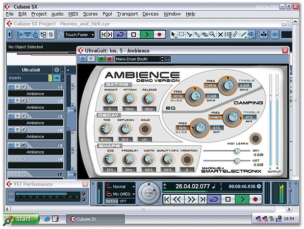 Steinberg have adopted the shareware Ambience reverb plug-in to provide Cubase with an equivalent to the Logic Platinum test. Here, just like many other Intel systems, including a P4C 3.2GHz model, my Pentium M 1.4GHz Centrino laptop manages just five instances, with an overall CPU reading of 75 percent.