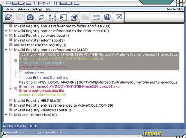 Iomatic's Registry Medic can automatically scan for and repair a large variety of Registry problems. Most importantly, it backs up anything you might have changed, just in case you ever subsequently run into problems. You can see in this screenshot that over 300 errors have been found and 45 missing files traced to other locations.