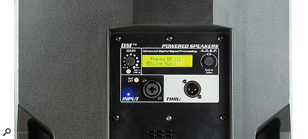 An LCD screen and push-encoder allows access to the DM112's DSP options.