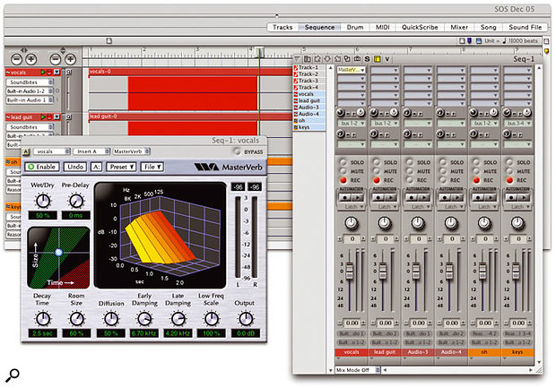 Good monitoring during recording is essential. In Digital Performer, flexible monitor mixes can be achieved in various ways. In the screen above, a monitor mix is being sent to musicians via the mixer's aux send section. The Masterverb plug-in is being used in this instance to give the vocalist some reverb in the headphones, but the effect will not be recorded.