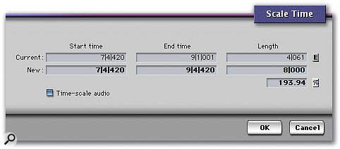 DP's Scale Time dialogue box, accessible from the Region menu, is one of the easiest ways to apply time compression or expansion to Soundbites.