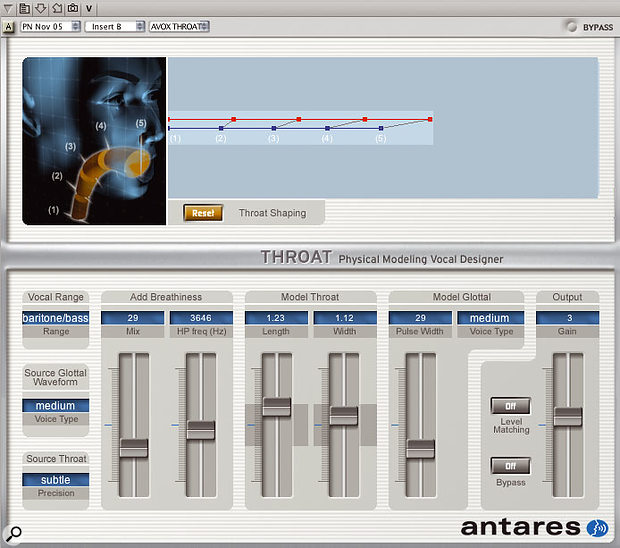 Throat, from Antares' new AVOX plug-in bundle. At around the £400 mark, AVOX isn't cheap, but it does things that would be hard to achieve by other methods.