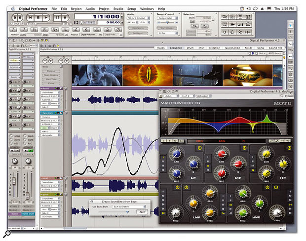 MOTU's pre-release screenshot of DP 4.5 in action. On show are the Consolidated Window with its multiple panes, and tabs for choosing between editing screens, the new Masterworks EQ plug-in, and one of the new Beat Detection Engine windows.