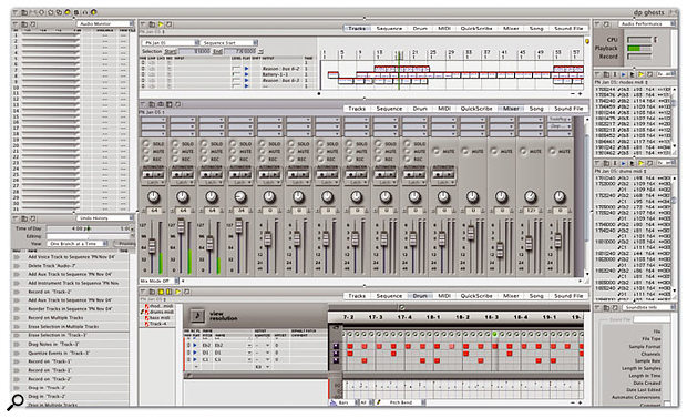 A fairly complex, nine-cell Consolidated Window setup using both sidebars and varying numbers of rows. The Mixing Board has focus here, as indicated by its darker title bar.