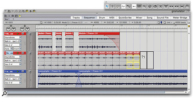 Quick manipulation of soundbites is useful in any audio-heavy project. Here, two soundbites are being duplicated to extend a rhythm track, while others have had fades and edge-edits applied.