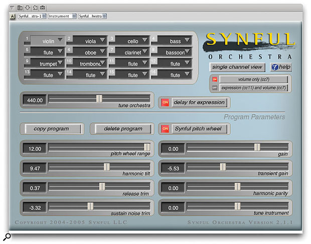 The Synful orchestra, running as an Audio Unit plug-in within DP 4.52. Like it or hate it, you're probably looking at the future of orchestral emulations.