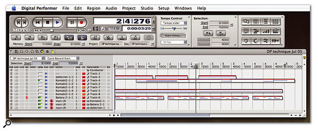 A typical setup for jamming using Memory Cycle. Several MIDI tracks are already in place, Memory Cycle and Overdub are turned on in the Control Panel (buttons dark blue), and DP is in record.