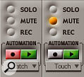 The section of the Mixing Board that offers an easy and intuitive way of working with automation. Notice the automation mode pop-ups beneath the play and record buttons.