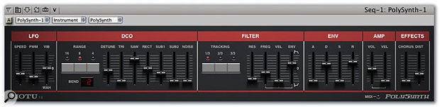 Polysynth, a single-oscillator polyphonic instrument offering a choice of waveforms, and pan control that allows you to continuously vary its output from full stereo right down to mono.