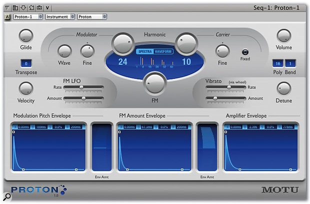 Proton is about as friendly as FM synthesis ever gets. As you tweak the Modulator and Carrier parameters the central 'Spectra' display indicates the resulting harmonic content of your sound, with blue lines indicating 'in tune' harmonics, and orange lines the more edgy inharmonic components of the timbre.