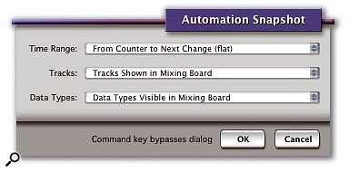 This is the dialogue box that appears when you click a Snapshot button in DP. The three pop-up menus allow you to configure the 'which tracks', 'what' and 'where' of the Snapshot.