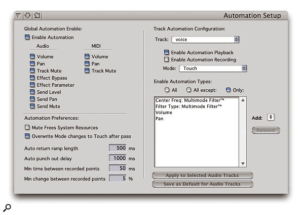 It's not pretty, but the Automation Setup window offers you the finest control over enabled automation data types in your tracks, and also allows you to turn off automation globally.