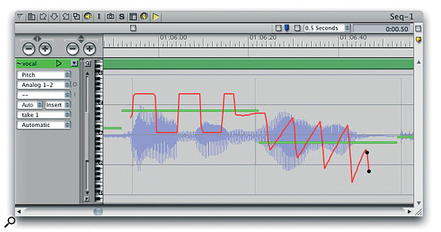 A short section of audio that has undergone very artificial pitch modification using the square and triangle waveform drawing tools. Notice, too, the control points used to shape the 'fall off' at the end of the phrase.