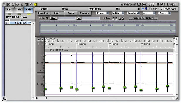 In the Waveform editor, open the same soundbite whose tempo you've just set and choose the Beats tab at the top of the window. The vertical blue lines you now see are the 'beats' (transients or places of rhythmic stress in the music) that DP has identified automatically. They can be moved manually if necessary, by dragging on the green 'handle'.