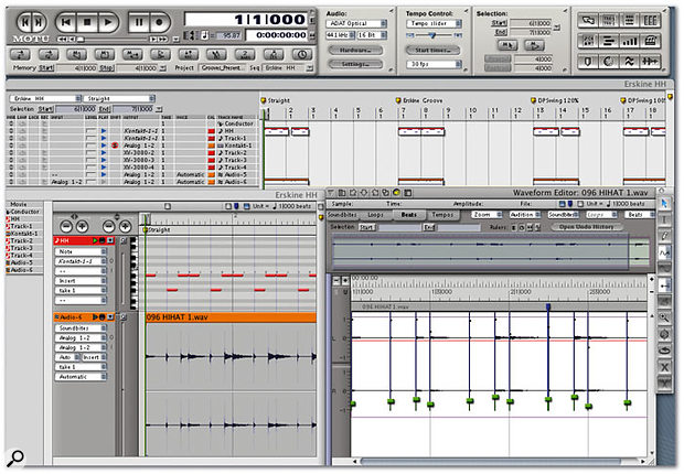 The Track List window, Sequencer window and Waveform editor in Digital Performer, an extremely powerful combination of tools for analysing, creating and altering MIDI and audio grooves.